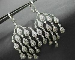 ANTIQUE LARGE 3.32CT DIAMOND 18K WHITE GOLD RAINDROP CHANDELIER HANGING EARRINGS