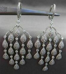 ESTATE LARGE 3.32CT DIAMOND 14KT WHITE GOLD FLOATING CHANDELIER DROP EARRINGS