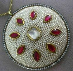 ANTIQUE LARGE 6.0CT DIAMOND AAA RUBY & PEARL ENAMEL 18KT YELLOW GOLD 3D PENDANT