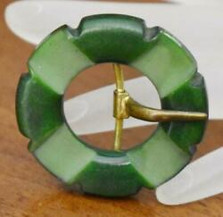 LOVELY VINTAGE SMALL SHADES OF GREEN ROUND CARVED BAKELITE BELT BUCKLE $18.00