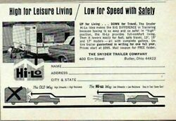 1965 Print Ad Snyder Hi-Lo Travel Trailers Low for SpeedSafety ButlerOhio