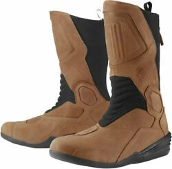 Icon 1000 Joker WP Mens Grain Leather Motorcycle Boots Brown