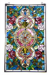 Tiffany Style Stained Glass Window Panel Floral Medallion Design 20quot; W X 32quot; L $218.50