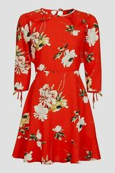 Topshop Celebrity Red Paint Floral Frill Flippy Tea Dress Size 12