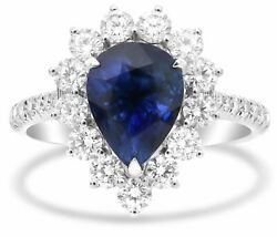 GIA 4.23CT DIAMOND & AAA SAPPHIRE 18K WHITE GOLD PEAR SHAPE HALO ENGAGEMENT RING