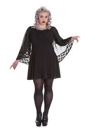 Spin Doctor Bewitched Black Moon amp; Stars Sheer Lace Wing Sleeves Black Dress $59.36