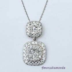 2.50 ct F VS cushion round diamond halo antique style pendant 18k white gold 16