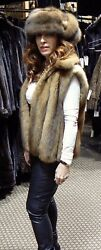VERA WANG GOLDEN RUSSIAN SABLE FUR VEST COAT JACKET NEW 68 $28K+**SO LUXE**