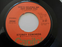 STONEY EDWARDS VG++ She's Helping Me Get Over You 45 You're A Believer 3550