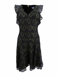 TOMMY HILFIGER Black and Gold Metallic Lace Floral Cocktail Dress *NEW Size 8 $13.43