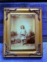 Flower Girl Antique Photo Under Glass Original Frame Child Country Scene Foto $45.00