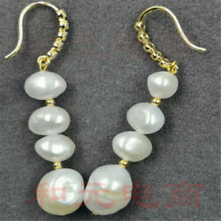 8-9MM Huge white baroque pearl earrings 18K gold plating natural party south sea