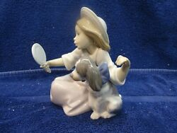 Lladro - Who's The Fairest girl with dog and mirror #5468. 5 34