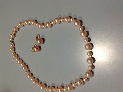 Pink Pearl Necklace with Clip on Earrings