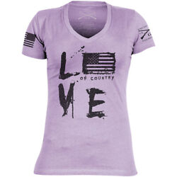 Grunt Style Women's Love of Country Revisited V-Neck T-Shirt - Purple