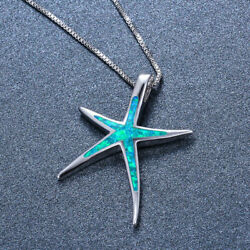 Chic Blue Opal Starfish Pendant Necklace 925 Silver Ocean Theme Wedding Jewelry