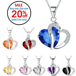 Fashion Women Heart Crystal Rhinestone Silver Chain Pendant Necklace Charm $2.94