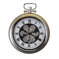Metal Pocket Watch Style Skeleton Wall Clock with Moving Gears $99.99