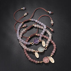 Fashion Women's Adjustable Natural Stone Beaded Woven Rope Bracelet Jewelry Gift