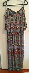 Women's Tribal Geometric Sleeveless Sundress Maxi Dress Size 1X $9.00