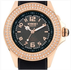 New Kyboe 40MM Watch Radiant Collection Silicone Black Rose Gold LED SWAROVSKI $149.99