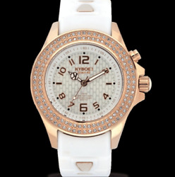 New Kyboe 40MM Watch Radiant Collection Silicone White & Gold LED SWAROVSKI $149.99