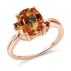 3.24 Ct Oval Ecstasy Mystic Topaz Red Garnet 18K Rose Gold Plated Silver Ring