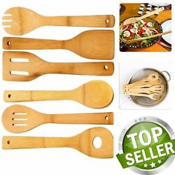 6 Piece Wooden Cooking Utensil Set Bamboo Kitchen Spatula Spoons Tools Wood Kit