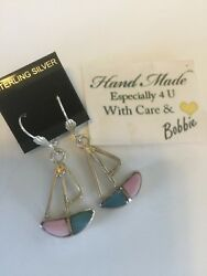 Amazing  handcrafted AAA Larimar Pink Counch earrings   925 silver  e5