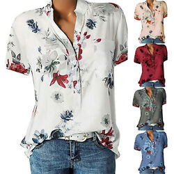 Womens Short Sleeve Floral V Neck Tee T Shirts Blouse Loose Tunic Tops Plus Size