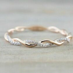Women Fashion 14K Rose Gold Stack Twisted Ring Wedding Party Women Jewelry NEW $1.99