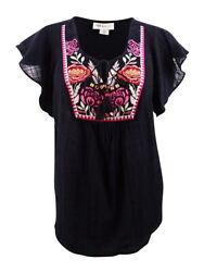 Style & Co. Women's Plus Size Gauze Embroidered Peasant Top