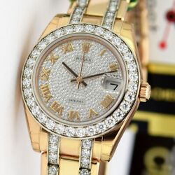Rolex Ladies Pearlmaster 34 Rose Gold Pave Diamond Face 81285