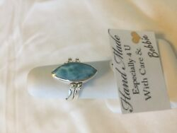 Amazing  handcrafted AAA Larimar Pink Conch reversible ring 925 silver size 8.5