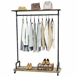 MBQQ Industrial Pipe Clothing Rack on WheelsRolling Iron Garment Racks with She