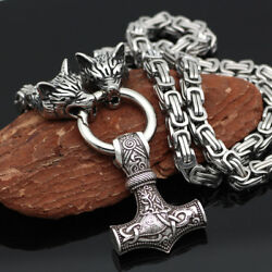 High Quality Men's Norse Viking Thor hammer Mjolni&Wolf Pendant Necklace Gifts