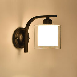 American Vintage Iron Glass Wall Lamp Led Wall Sconce Bedroom Light Loft Decor $42.09