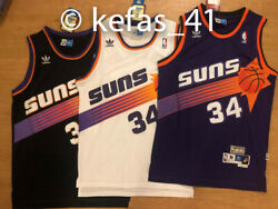 Charles Barkley 34 Phoenix Suns Mens Classic Throwback Jersey BlackWhitePurple