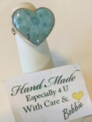 Amazing  handcrafted AAA Larimar   Heart ring   925 silver size 9