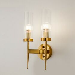 Modern Gold Wall Lamp Led Glass Wall Sconce Light Fixtures Living Room Bedroom $102.09