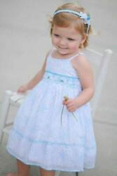 Infant Girls White Floral Blue Hand Smocked Summer Beach Portrait Dress 17594