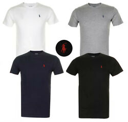 Polo Ralph Lauren Men#x27;s T Shirt Crew Neck Slim Fit Short Sleeve Logo Tee Shirt $17.95