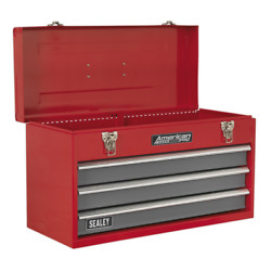 Tool Chest 3 Drawer Portable with Ball Bearing Slides - RedGrey SEALEY AP9243