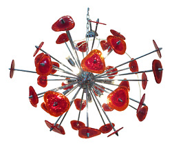 Murano Glass Red Pulegoso Sputnik Chandelier From Italianlightdesign