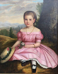 Portrait of Young Girl.   American circa 1855.  Oil on canvas