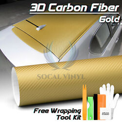 *3D Matte Gold Carbon Fiber Textured Vinyl Wrap Sticker Decal Air Bubble Free