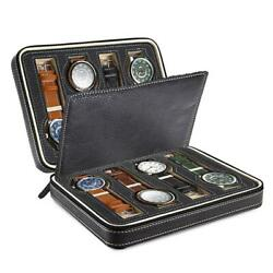 8 Slot Portable Watch Box Travel Case Storage Holder with Zipper Padded Divider