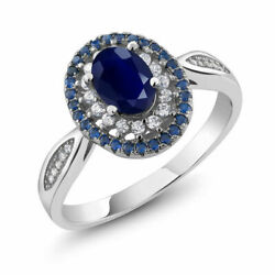 US SELLER BEAUTIFUL WHITE & BLUE SAPPHIRE SIMULATED OVAL GEMSTONE RING SIZE 6
