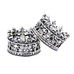 Men's 925 Silver Ghost Skull Rhinestone Crown Ring Women Bridal Single's Party