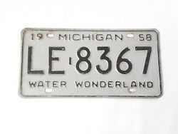 1958 Michigan License Plate LE 8367 Gray with Black